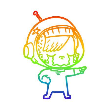 rainbow gradient line drawing of a cartoon crying astronaut girl Foto de archivo - 130012146