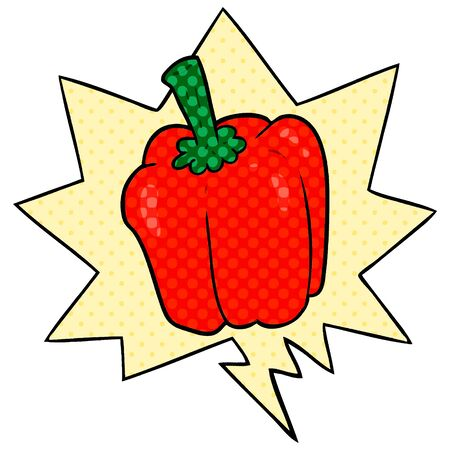 cartoon fresh organic pepper with speech bubble in comic book style