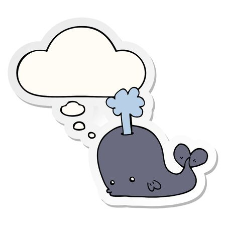 cartoon whale with thought bubble as a printed sticker