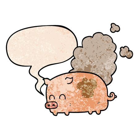 cartoon smelly pig with speech bubble in retro texture style