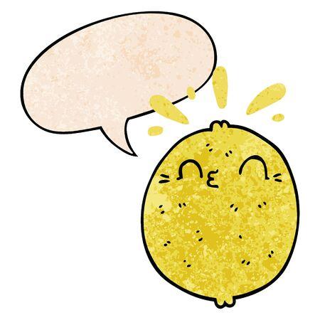 cute cartoon lemon with speech bubble in retro texture style