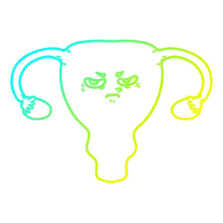 cold gradient line drawing of a cartoon angry uterus
