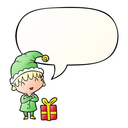 cartoon happy christmas elf with speech bubble in smooth gradient style