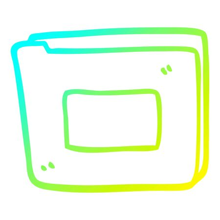cold gradient line drawing of a cartoon paper file Ilustracja