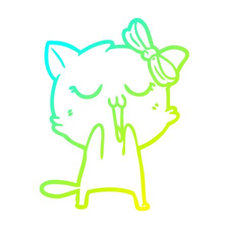 cold gradient line drawing of a cartoon cat  イラスト・ベクター素材