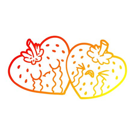 warm gradient line drawing of a cartoon strawberries