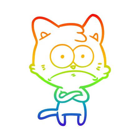 rainbow gradient line drawing of a cartoon nervous cat