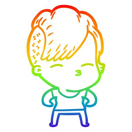rainbow gradient line drawing of a cartoon girl muscle posing 向量圖像
