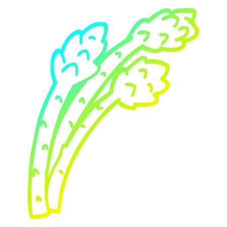 cold gradient line drawing of a cartoon asparagus plant Ilustração