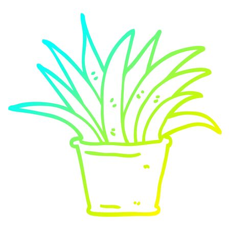 cold gradient line drawing of a cartoon house plant