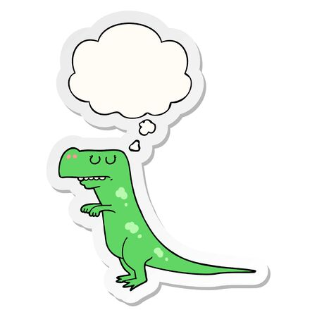 cartoon dinosaur with thought bubble as a printed sticker Imagens - 129970743