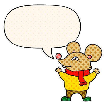 cartoon mouse wearing scarf with speech bubble in comic book style