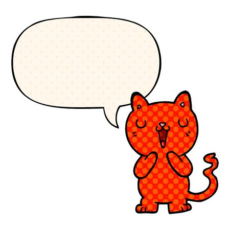 cartoon cat with speech bubble in comic book style Imagens - 130012336