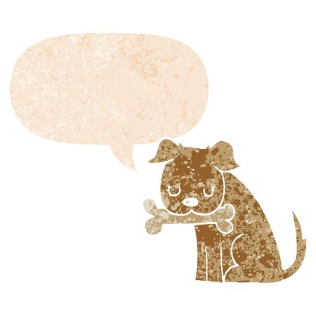 cartoon dog with speech bubble in grunge distressed retro textured style