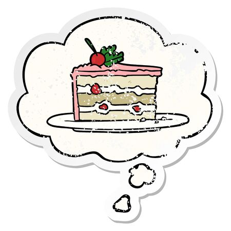 cartoon dessert cake with thought bubble as a distressed worn sticker