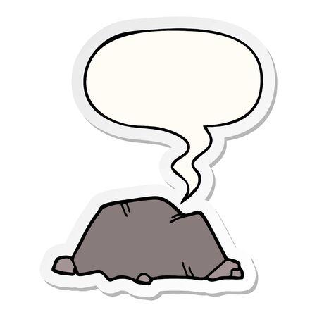 cartoon rock with speech bubble sticker Foto de archivo - 130012095