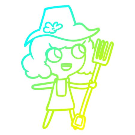 cold gradient line drawing of a cartoon farmer girl with fork