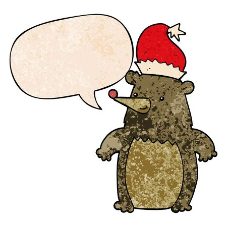 cartoon bear wearing christmas hat with speech bubble in retro texture style