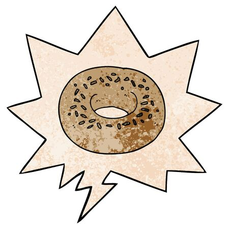 cartoon donut with speech bubble in retro texture style