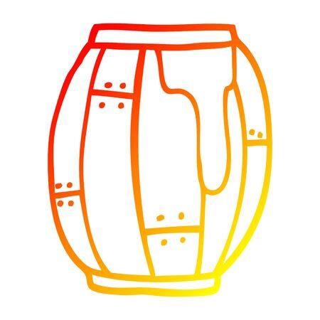 warm gradient line drawing of a cartoon beer barrel Stock Illustratie