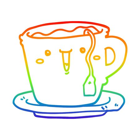 rainbow gradient line drawing of a cute cartoon cup and saucer Illusztráció