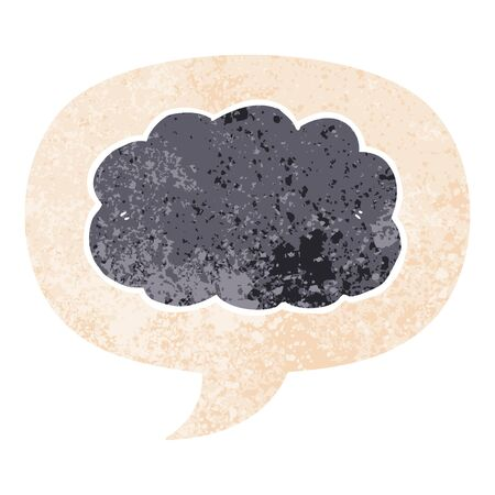 cartoon cloud with speech bubble in grunge distressed retro textured style