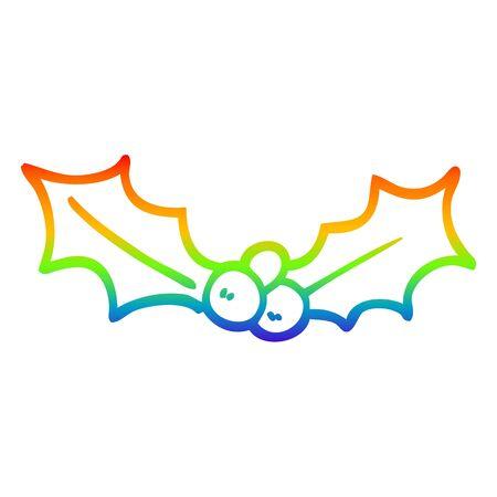 rainbow gradient line drawing of a cartoon holly twig