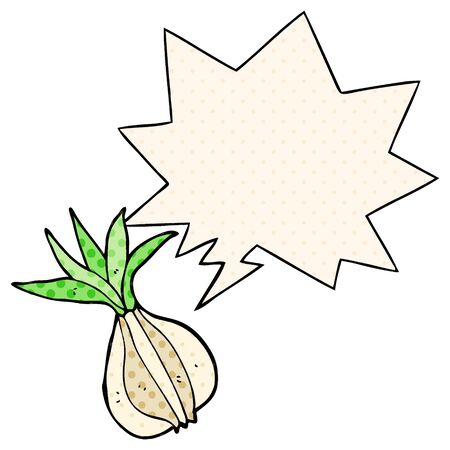 cartoon onion with speech bubble in comic book style Imagens - 130012172