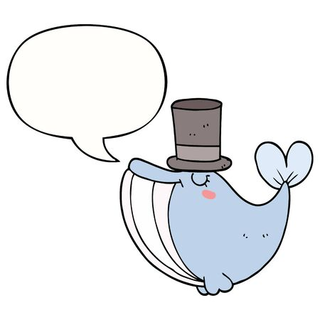 cartoon whale with top hat with speech bubble Иллюстрация