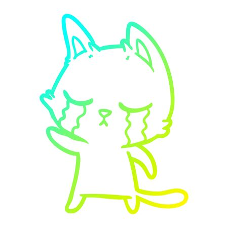 cold gradient line drawing of a crying cartoon cat pointing