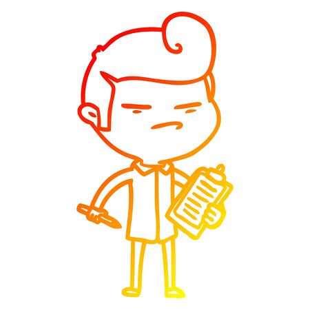 warm gradient line drawing of a cartoon cool guy with fashion hair cut and clip board