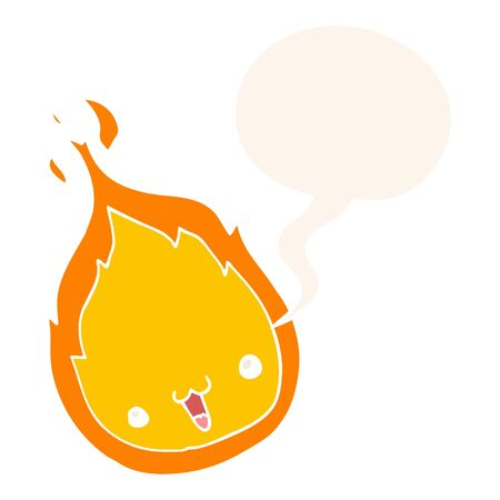 cute cartoon flame with speech bubble in retro style
