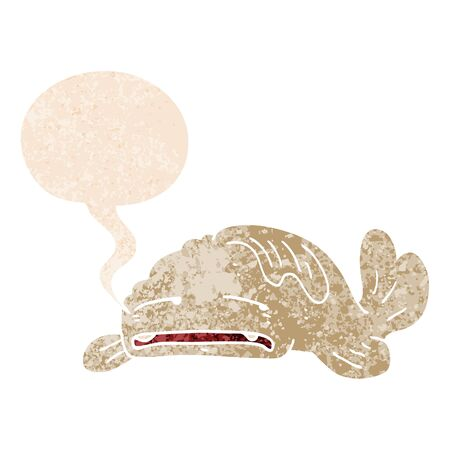 cartoon sad old fish with speech bubble in grunge distressed retro textured style Ilustração