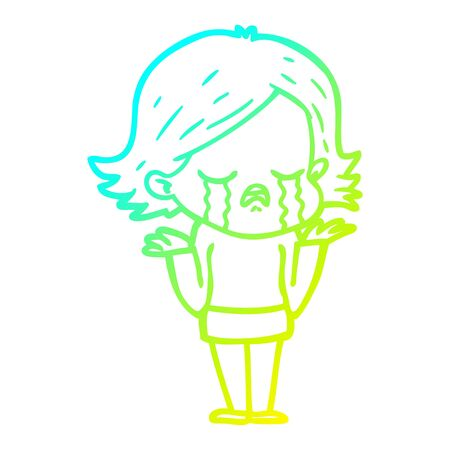 cold gradient line drawing of a cartoon girl crying Foto de archivo - 130012514