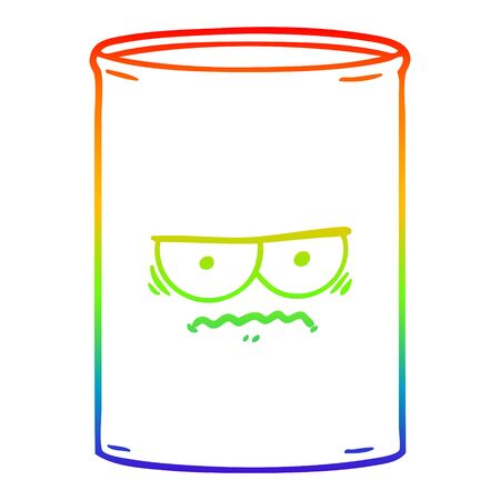 rainbow gradient line drawing of a cartoon oil drum