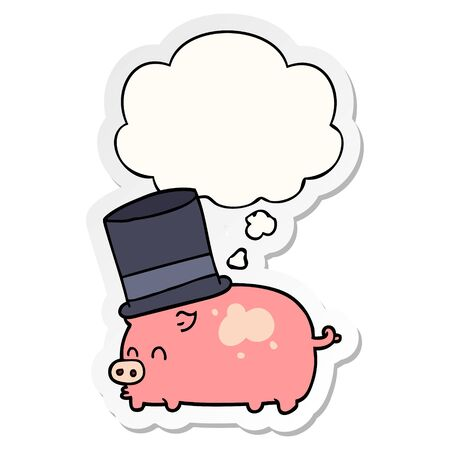 cartoon pig wearing top hat with thought bubble as a printed sticker