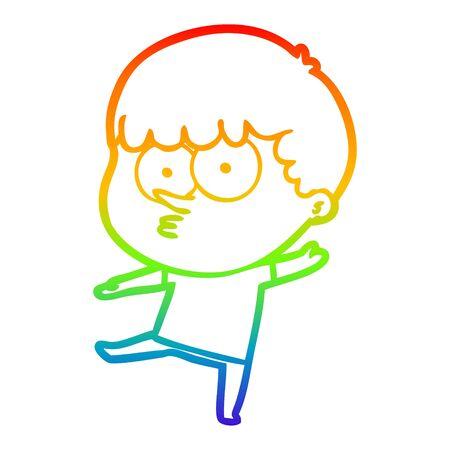 rainbow gradient line drawing of a cartoon curious boy Иллюстрация