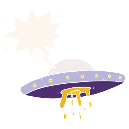 cartoon flying UFO with speech bubble in retro style