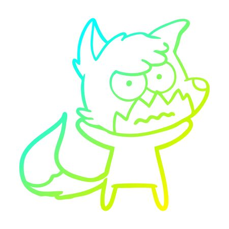 cold gradient line drawing of a cartoon annoyed fox