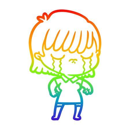 rainbow gradient line drawing of a cartoon woman crying Foto de archivo - 130012587