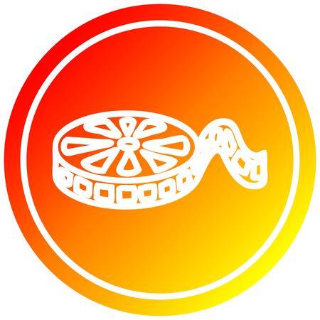 movie film reel circular icon with warm gradient finish Ilustração
