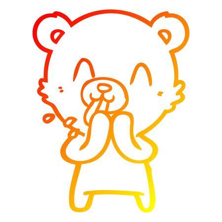 warm gradient line drawing of a rude cartoon bear