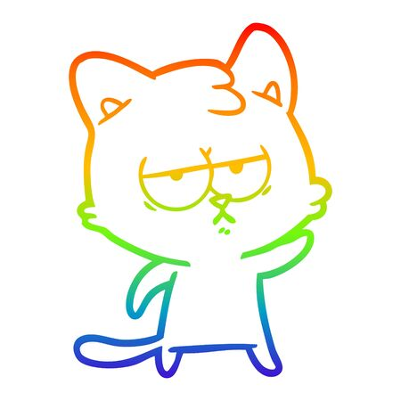 rainbow gradient line drawing of a bored cartoon cat