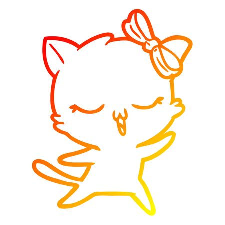 warm gradient line drawing of a cartoon dancing cat with bow on head  イラスト・ベクター素材