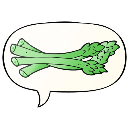 cartoon asparagus with speech bubble in smooth gradient style
