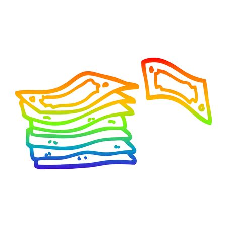 rainbow gradient line drawing of a cartoon stack of money