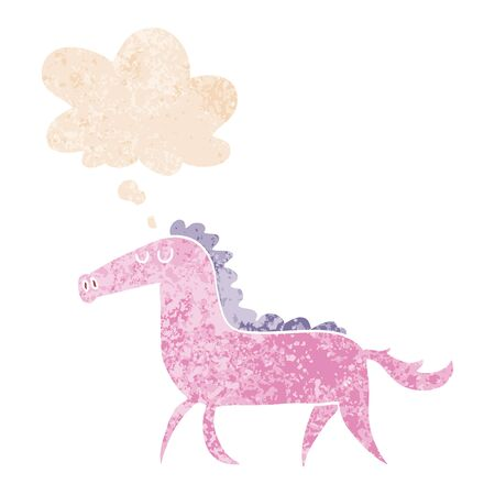 cartoon horse with thought bubble in grunge distressed retro textured style