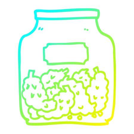 cold gradient line drawing of a cartoon cannabis dispensary jar Иллюстрация