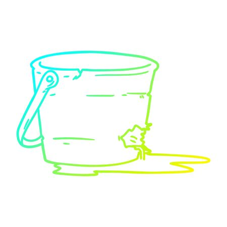cold gradient line drawing of a broken bucket cartoon