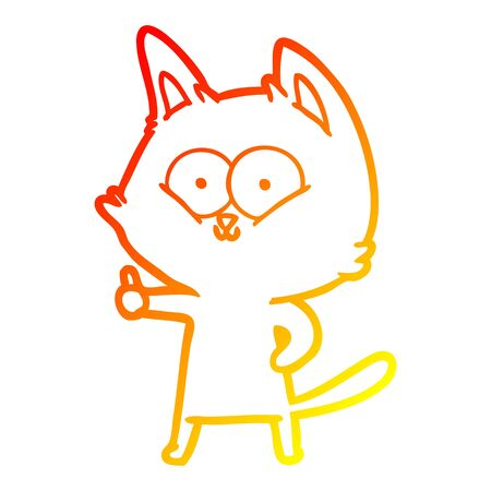 warm gradient line drawing of a cartoon cat giving thumbs up